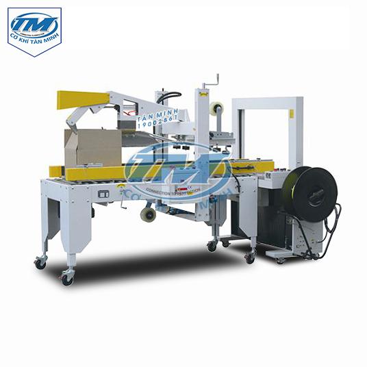 Máy dán băng dính, gấp mép+ đai thùng tự động (TMĐG-GA10)
