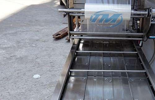 Máy dán miệng hộp băng tải & thổi khí có indate ATS-2T