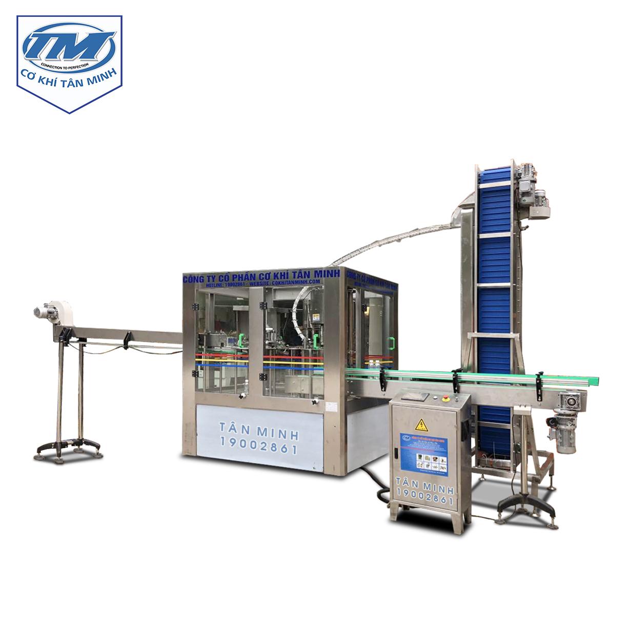 Dây chuyền xúc rửa chiết rót đóng nắp 8-8-3 tự động (TMDC-DC09)